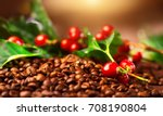 coffee background. real coffee... | Shutterstock . vector #708190804