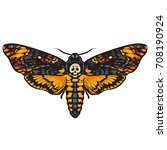 death's head hawkmoth.... | Shutterstock .eps vector #708190924
