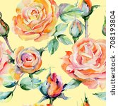 wildflower rose flower pattern... | Shutterstock . vector #708193804