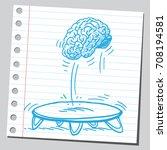 brain jumping on a trampoline | Shutterstock .eps vector #708194581