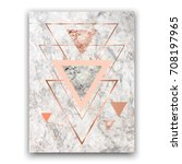 Stock vector marble background with rose gold triangles geometric print for your card template business 708197965