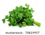 a bunch of parsley on a white background - stock photo