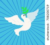 white peace dove with olive... | Shutterstock .eps vector #708200719