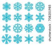 flat design line snowflakes... | Shutterstock .eps vector #708201985
