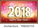 postcard happy new year 2018 on ... | Shutterstock .eps vector #708202714