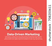data driven marketing strategy. ... | Shutterstock .eps vector #708203611