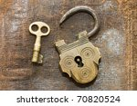 The Old Lock And Key On A...