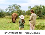 back view of family on safari... | Shutterstock . vector #708205681