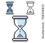 pixel icon of hourglass in... | Shutterstock .eps vector #708206815
