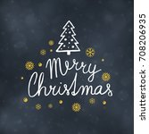 merry christmas typography... | Shutterstock .eps vector #708206935