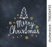 merry christmas typography... | Shutterstock .eps vector #708206935