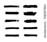 brush strokes set  black hand... | Shutterstock .eps vector #708207001