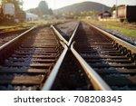 railway crossroads. choosing... | Shutterstock . vector #708208345