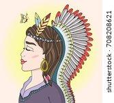 vector indian redskin native... | Shutterstock .eps vector #708208621