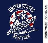 liberty statue vector logo...   Shutterstock .eps vector #708209521