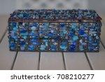 ornamental blue box for paper... | Shutterstock . vector #708210277