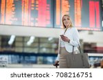 young female passenger at the... | Shutterstock . vector #708216751