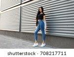 beautiful stylish woman with... | Shutterstock . vector #708217711