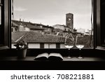 window view with flower pot ... | Shutterstock . vector #708221881