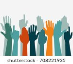 hands up colors  voting hand... | Shutterstock .eps vector #708221935