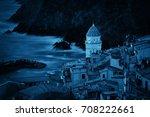 landmark church bell tower and... | Shutterstock . vector #708222661