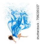 woman levitate in art dress ... | Shutterstock . vector #708230137