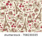 seamless pattern with eiffel... | Shutterstock . vector #708230335