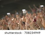 football fans clapping on the... | Shutterstock . vector #708234949