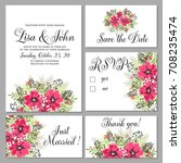 wedding invitation set of... | Shutterstock .eps vector #708235474