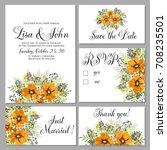 wedding invitation set of... | Shutterstock .eps vector #708235501