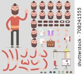 creation of a hipster character ... | Shutterstock .eps vector #708241555