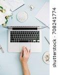 flat lay home office desk.... | Shutterstock . vector #708241774