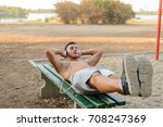 muscular young man during his... | Shutterstock . vector #708247369