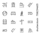 thin line travel icons set on... | Shutterstock .eps vector #708254605