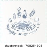 hand drawn food   fish with... | Shutterstock .eps vector #708254905