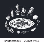 hand drawn food   chalk on... | Shutterstock .eps vector #708254911