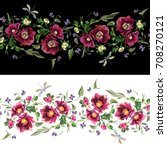 embroidered floral border.... | Shutterstock .eps vector #708270121