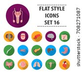 organs set icons in flat style. ... | Shutterstock .eps vector #708271087