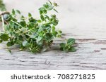 thyme on a wooden background. | Shutterstock . vector #708271825