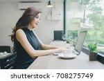 beautiful young asian... | Shutterstock . vector #708275749