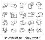 set of message related. simple... | Shutterstock .eps vector #708279454