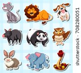 sticker design for many animals ... | Shutterstock .eps vector #708280051