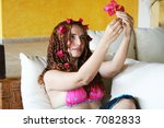 beautiful young model on couch | Shutterstock . vector #7082833
