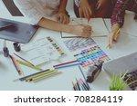 designers brainstorming concept ... | Shutterstock . vector #708284119