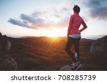 athletic girl resting after... | Shutterstock . vector #708285739
