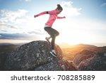 athletic woman running in the... | Shutterstock . vector #708285889