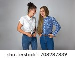 portrait of beautiful two young ... | Shutterstock . vector #708287839