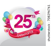 25th anniversary logo with... | Shutterstock .eps vector #708296761