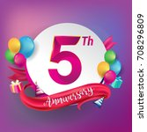 5th anniversary logo with... | Shutterstock .eps vector #708296809