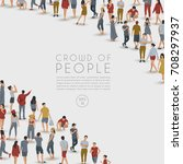 crowd of people on white... | Shutterstock .eps vector #708297937